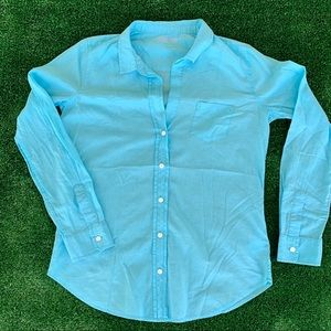 LILLY PULITZER L/S LIGHTWEIGHT BUTTON DOWN TEAL